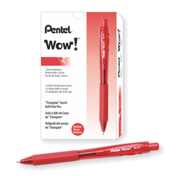Pentel® WOW!™ Retractable Ballpoint Pens, Medium Point, 1.0 mm, Transparent Red Barrels, Red Ink, Pack Of 12
