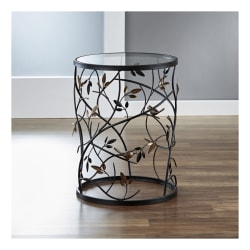 FirsTime & Co.® Large Bird And Branches Side Table, Round, Clear/Antique Bronze