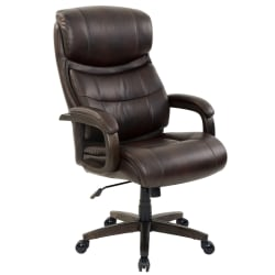Realspace® Westdale Big And Tall Bonded Leather High-Back Chair, Brown