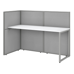 "Bush Business Furniture Easy Office 60""W Cubicle Desk Workstation With 45""H Open Panels, Pure White/Silver Gray, Standard Delivery"
