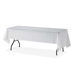 "Genuine Joe Plastic Rectangular Table Covers - 108"" Length x 54"" Width - Plastic - White - 24 / Carton"
