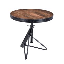 Coast to Coast Braden Adjustable Wood Round Accent Table, Brown