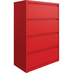 "Lorell 36""W Lateral 4-Drawer File Cabinet, Metal, Red"