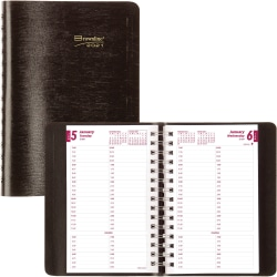"""Brownline Soft Cover 12-Month Daily Planner - Julian Dates - Daily - 1 Year - January 2021 till December 2021 - 7:00 AM to 8:45 PM - Quarter-hourly - 1 Day Single Page Layout - 5"""" x 8"""" Sheet Size - Twin Wire - Desktop - Black"""