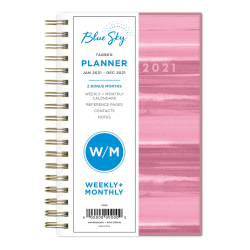 "Blue Sky™ PP Weekly/Monthly Planner, 3-5/8"" x 6-1/8"", Horizon, January to December 2021, 122983"