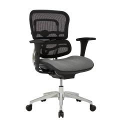 WorkPro® 12000 Series Ergonomic Mesh/Premium Fabric Mid-Back Chair, Gray/Black/Chrome