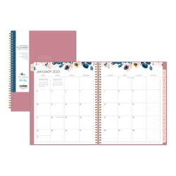 "Blue Sky™ Yao Cheng Weekly/Monthly Planner, 8-1/2"" x 11"", Indigo Floral, January To December 2021, 124068"