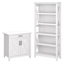 Bush Furniture Key West Secretary Desk With Storage And 5-Shelf Bookcase, Pure White Oak, Standard Delivery