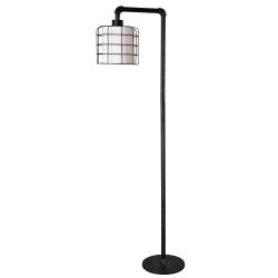 """Kenroy Home Alcatraz Floor Lamp, 61""""H, White Shade/Bronze Graphite Base"""