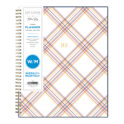 """Blue Sky™ Snow And Graham Weekly/Monthly Planner, 8-1/2"""" x 11"""", Multi Tottie, January To December 2021, 121900"""