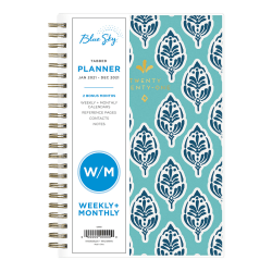 """Blue Sky™ Weekly/Monthly Planner, 5"""" x 8"""", Sullana, January To December 2021, 110570"""