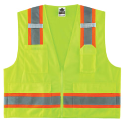 Ergodyne GloWear Safety Vest, 2-Tone Surveyors, Type-R Class 2, Large/X-Large, Lime, 8248Z