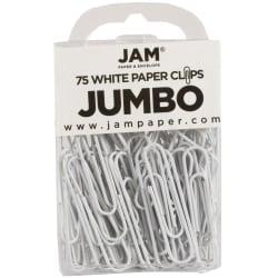 "JAM Paper® Paper Clips, Jumbo, 2"", 25-Sheet Capacity, White, Pack Of 75"
