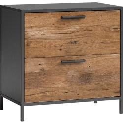 """Sauder® Boulevard Cafe 31""""W Lateral 2-Drawer File Cabinet, Black/Vintage Oak"""