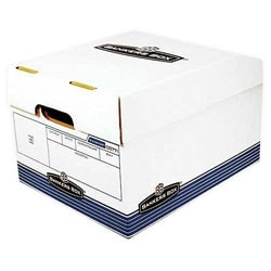 "Bankers Box® R Kive® O/S™ Standard-Duty Storage Box With Built-In Handles, Letter/Legal Size, 15"" x 12"" x 10"", 60% Recycled, White/Blue"