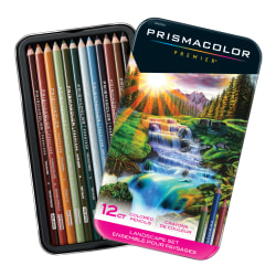 Prismacolor Premier Colored Pencil Set, 0.7 mm, Soft Core, Landscape, Set Of 12 Pencils