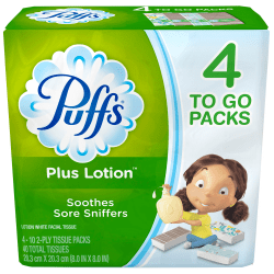 Puffs Plus Lotion-To-Go 2-Ply Facial Tissues, White, 10 Tissues Per Pack, Case Of 4 Packs