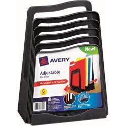 "Avery Adjustable File Rack - 5 Compartment(s) - 11.5"" Height x 8"" Width x 10.5"" Depth - Desktop - Black - Plastic - 1Each"