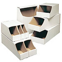 """Office Depot® Brand White Stackable Parts Bins, 4 1/2"""" x 4"""" x 12"""", Pack Of 50"""