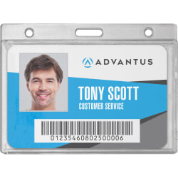 "Advantus Frosted Horizontal Rigid ID Holder - Support 3.38"" x 2.13"" Media - Horizontal - Plastic - 25 / Box - Frosted"