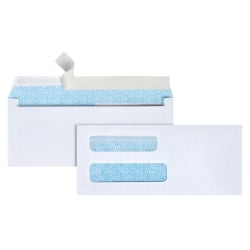 "Office Depot® Brand Double-Window Envelopes, #8 5/8"", 3 5/8"" x 8 5/8"", White, Self-Adhesive, Box Of 250"