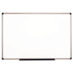 "Realspace™ Porcelain Magnetic Dry-Erase Whiteboard, 48"" x 72"", Aluminum Frame With Titanium Color Finish"