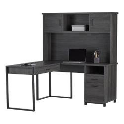 "Realspace® DeJori 59""W L-Shaped Desk With Hutch, Charcoal"