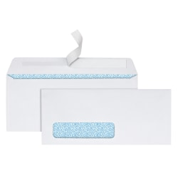"Office Depot® Brand Clean Seal™ Security Window Envelopes, #10, 4-1/8"" x 9-1/2"", White, Pack Of 250"