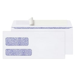 "Office Depot® Brand Double-Window Envelopes, #9, 3-7/8"" x 8-7/8"", White, Clean Seal™, Box Of 250"