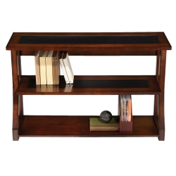 Realspace® Coastal Ridge 3-Shelf Bookcase, Mahogany/Black Glass