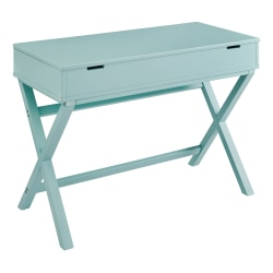 "Linon Lacey 42""W Lift-Top Desk, Turquoise"