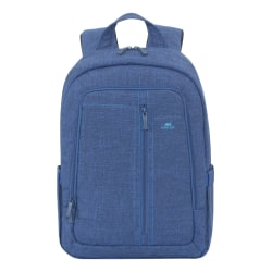 "Rivacase 7560 Canvas Backpack With 15"" Laptop Pocket, Blue"