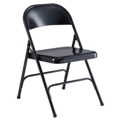 Lorell® Metal Folding Chair, Black, Set Of 4
