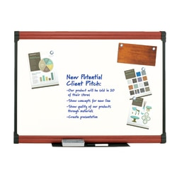 """FORAY™ Porcelain Magnetic Dry-Erase Whiteboard, 48"""" x 96"""",  Mahogany Finish Frame"""