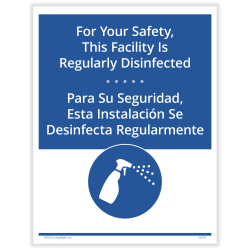 """ComplyRight™ Coronavirus And Health Safety Posting Notice, Facility Regularly Disinfected, English, 8-1/2"""" x 11"""""""