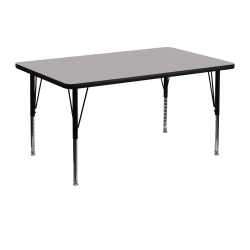 """Flash Furniture 48""""W Rectangular Thermal Laminate Activity Table With Short Height-Adjustable Legs, Gray"""