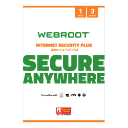 Webroot® Internet Security Plus With Antivirus Protection 2020, For 3 PC And Mac® Devices, 1-Year Subscription, Disc