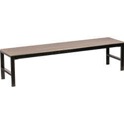 Lorell® Faux Wood Outdoor Bench, Charcoal/Black