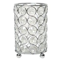 "Elegant Designs Ellipse Crystal Decorative Vase, 5""H x 3-1/4""W x 3-1/4""D, Chrome"