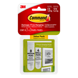 Command™ Damage-Free Picture-Hanging Strips Value Pack, Assorted Sizes, White, Pack Of 12