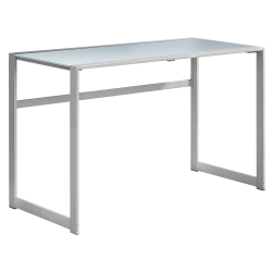 Monarch Specialties Computer Desk With Tempered Glass Top, White/Silver