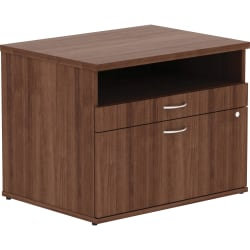 Lorell® Relevance File Cabinet Credenza With Open Shelf, Walnut