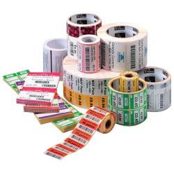 "Zebra® Z™Select® 4000T Paper Thermal Transfer Labels, E62757, 1 1/4"" x 2 1/4"", White, Roll Of 2,100"
