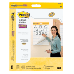 """Post-it® Super Sticky Wall Pads, 20"""" x 23"""", White, Primary Ruled, Pack Of 2 Pads"""