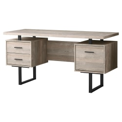 Monarch Specialties Laminate Floating-Top Computer Desk, Black/Taupe