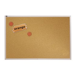 "Quartet® Education Cork Bulletin Board, 96"" x 48"", Natural Brown, Silver Aluminum Frame"