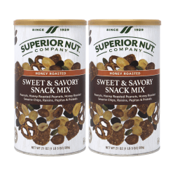 Superior Nut Sweet & Savory Snack Mix, 21 Oz, Pack Of 2 Containers