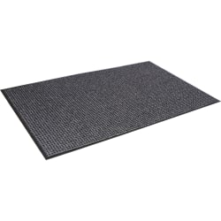 "Crown Mats Oxford Wiper Scraper Mat - Floor - 60"" Length x 36"" Width x 0.38"" Thickness - Rectangle - Olefin, Vinyl - Black, Gray"