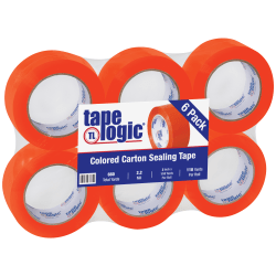 """Tape Logic® Carton-Sealing Tape, 3"""" Core, 2"""" x 110 Yd, Orange, Pack Of 6"""