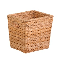 """Honey-Can-Do Water Hyacinth Basket, 10 1/2""""L x 10 1/2""""W x 10 1/2""""H, Brown/Natural"""